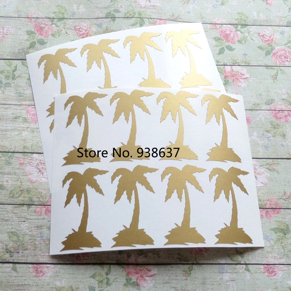 Gold Palm Tree Stickers Hawaii Theme Party Decoration Tropical Wedding Invitation Seal Removable wallpaper Vinyl Decals ZB184-in Wall Stickers from ...