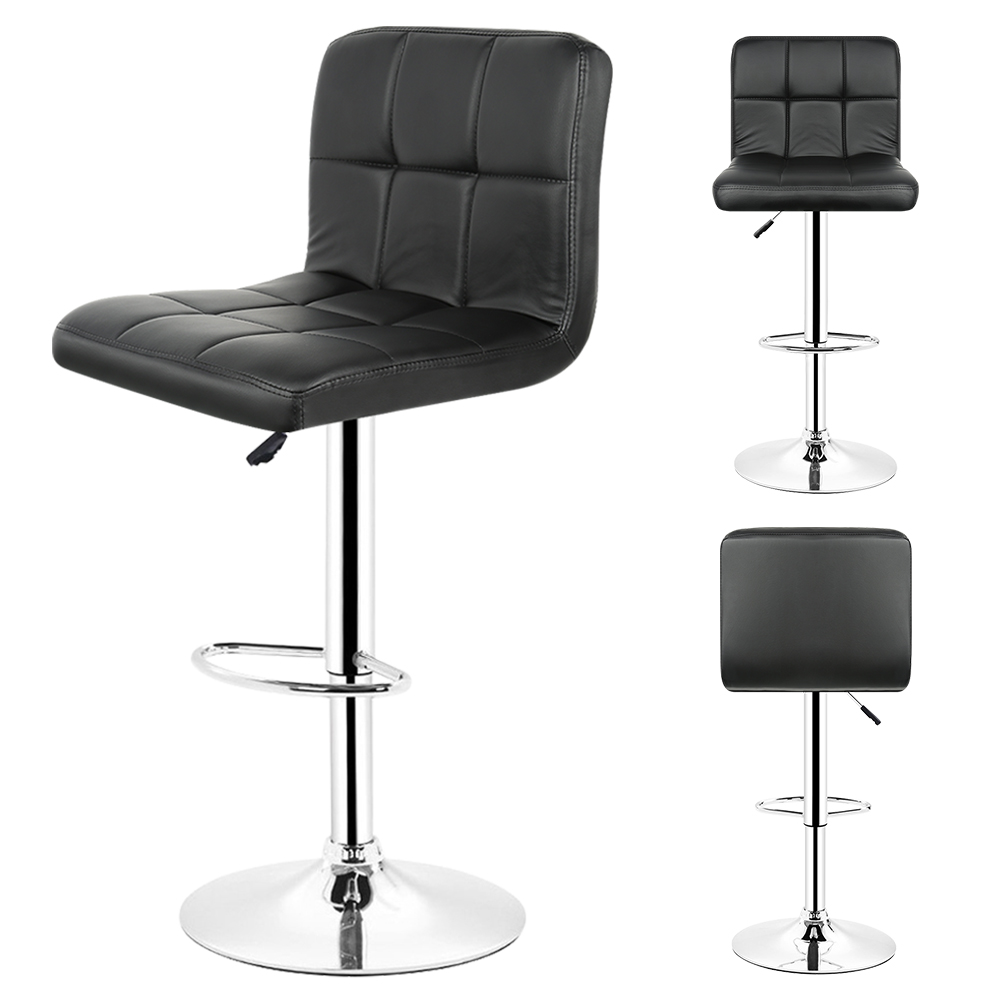 2PCS/set Kitchen Bar Stools Chair Leather Adjustable Swivel Bar Stools Breakfast Home Bar Black Chairs Free Shipping From FR HWC