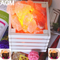 AGM Очиститель Воздуха Лампы Гималайской Соли Рок Ночь Свет Рамки Из Натурального Дерева Himalayan Crystal Настольные Лампы Для Спальни Спальные