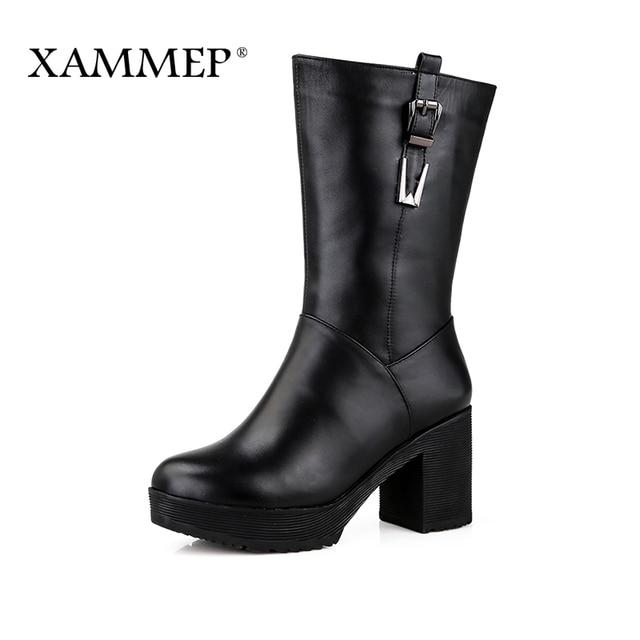 Xammep/женская зимняя обувь, Брендовые женские зимние сапоги, высокое качество, сапоги до середины икры, Натуральная шерсть, натуральная кожа, женская зимняя обувь
