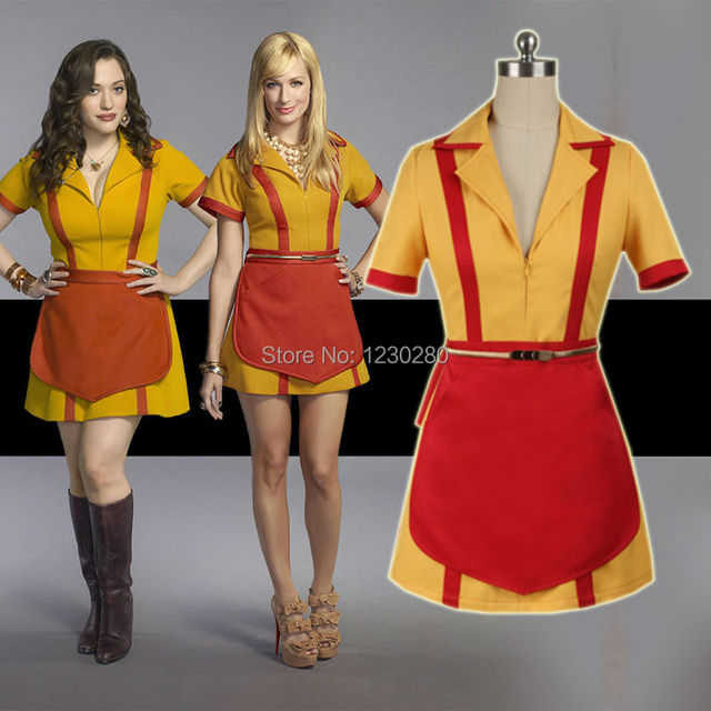 Customized 2 Broke Girls Costume Max Black Caroline Waitress Cosplay