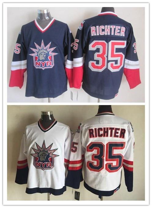 low priced a3f61 265d7 US $54.7 |2016 New York Rangers Jersey Mike Richter Jersey NY Rangers  Alternate Vintage Hockey Jerseys White Dark Blue Size S XXXL-in Hockey  Jerseys ...