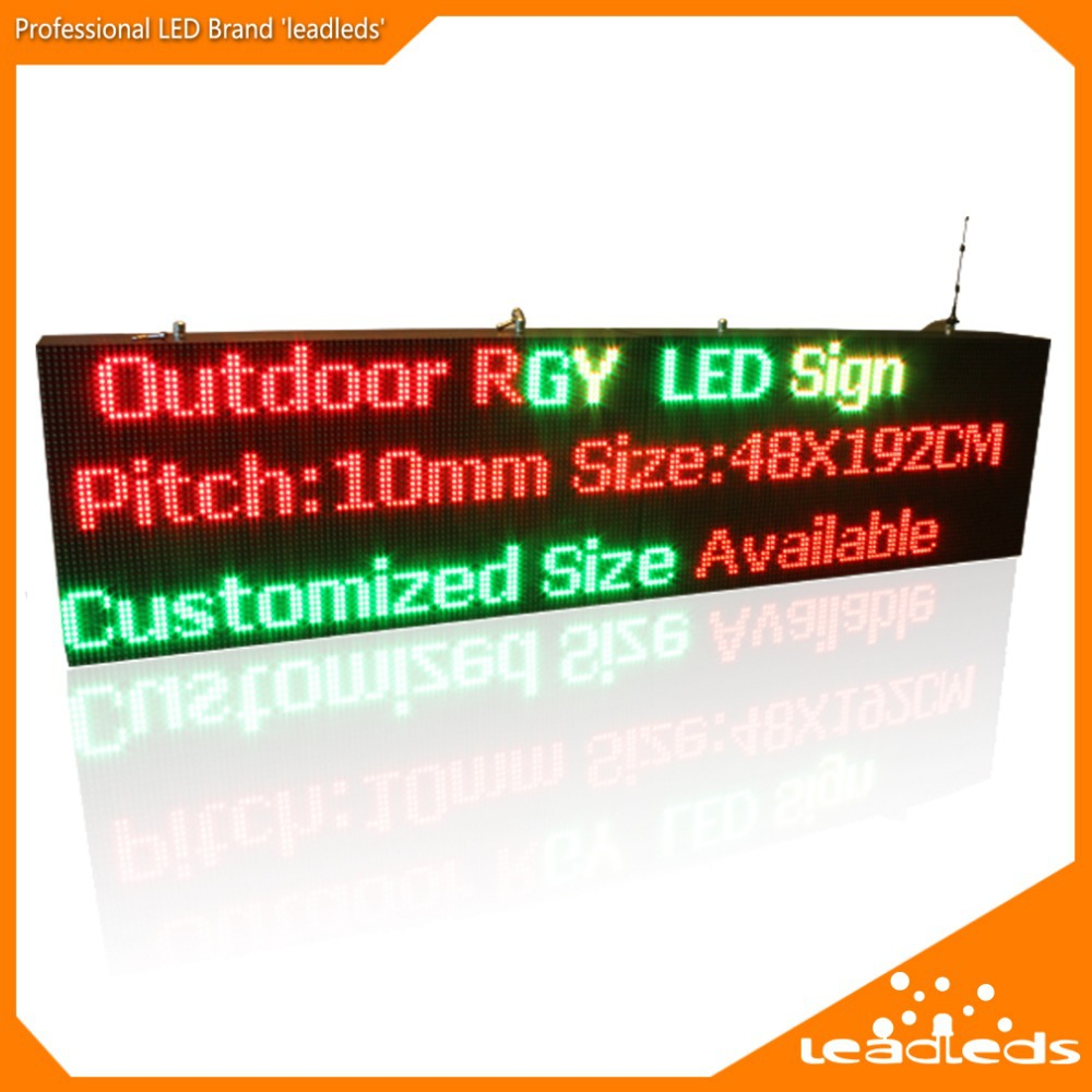 75.5 x 19 inches P10 Outdoor RGY-3 color Ultra Brightness Wifi Programmable remote control Led Display Board for Storefront