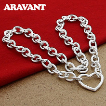 925 Silver Necklace Heart Clasp Necklaces For Women Fashion Silver Jewelry unisex necklaces 925 silver lobster clasp necklaces for women men fashion jewelry