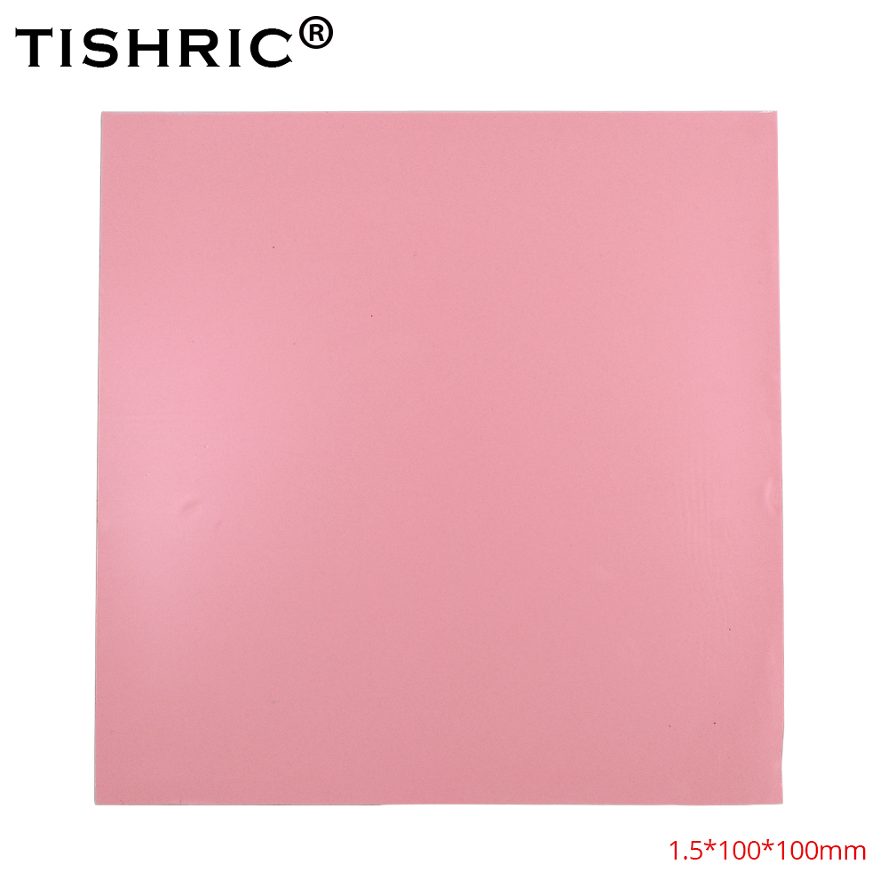TISHRIC Hot Sale Red GPU CPU Thermal Pads 1.5mm Cooler Conductive Silicone Pad Heatsink 100*100*1.5mm PC Fan Cooling Heat Sink