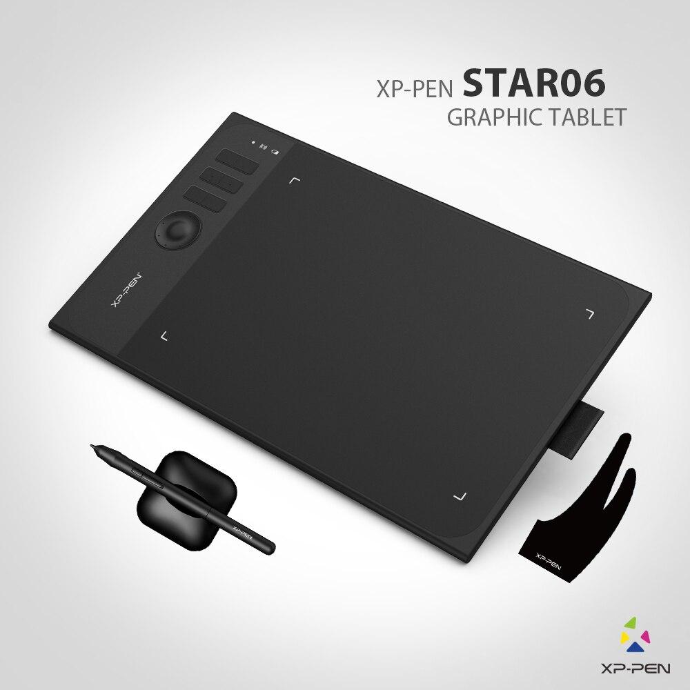 Nueva xp-pen Star06 Wireless 2,4g tableta gráfica dibujo pintura junta con 8192 niveles de batería libre pasiva stylu