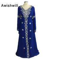 Real Photo Royal Blue Moroccan Kaftan Party Gown V Neck Beadings Chiffon Long Sleeve Floor Length Arabic Evening Gowns Dresses