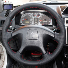 Shining wheat Hand-stitched Black Leather Steering Wheel Cover for Mitsubishi Pajero Old Mitsubishi Pajero Sport