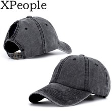 Unisex Blank Washed Low Profile Cotton Plain Baseball Cap Solid Color Velcro Adjustable