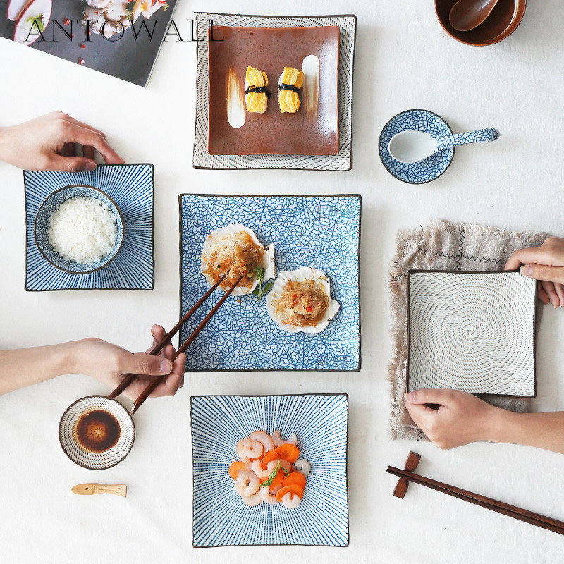 Ceramic Square Dinnerware Plates, Blue and White Dinner Dish