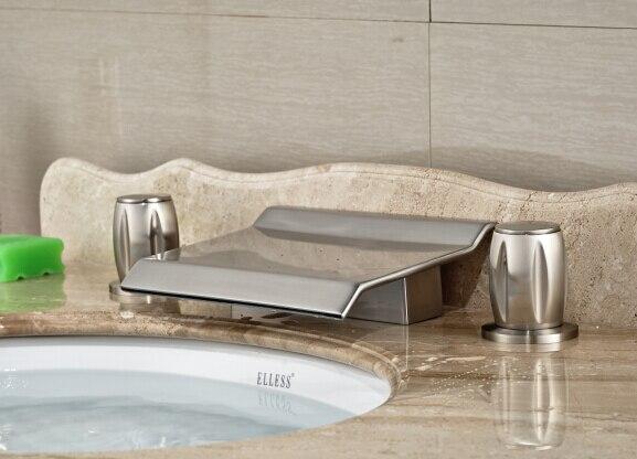 Brief Nickel Brushed Bathroom 2 Handles Deck Mounted Waterfall Basin Faucet Sink Mixer Tap стоимость
