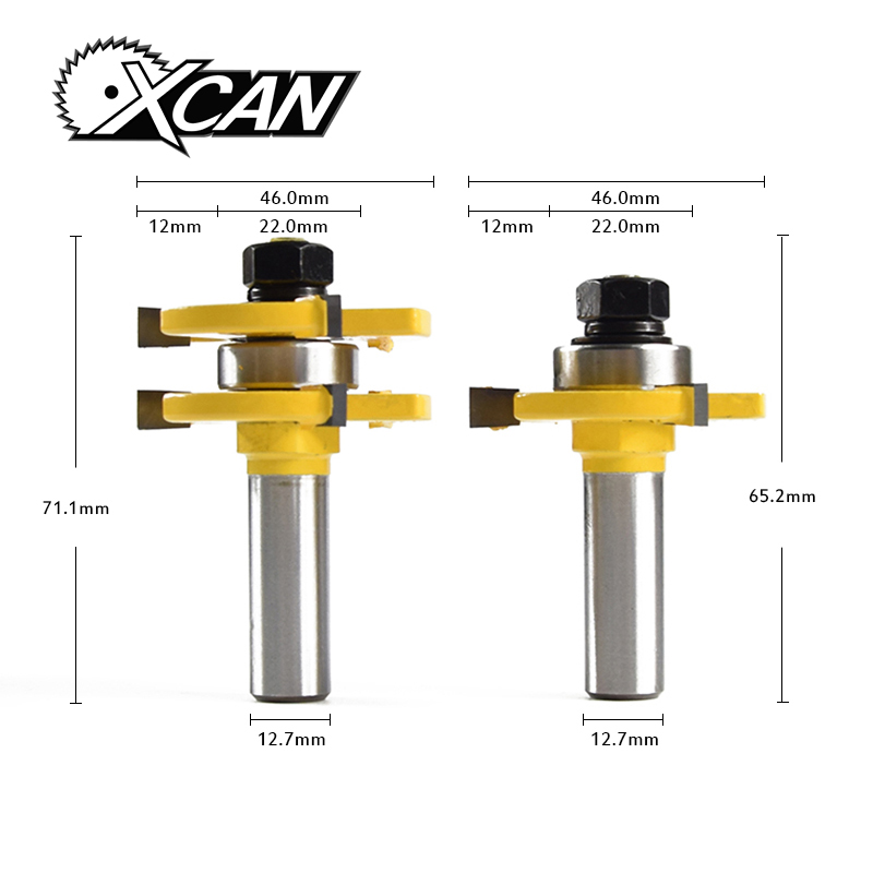 XCAN 2Pcs Matched Tongue & Groove Router Bit 1/4 Stock 1/2 Shank 3 Teeth T-shape Wood For Woodworking Tool new 2pcs shank matched tongue