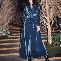 Women Windbreakers Velvet Long Sleeve Lace Up Maxi Trench Coat Female Fashion Autumn Winter Outerwear