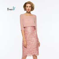 Dressv Pink Mother Of The Bride Dress Scoop Neck Half Sleeves Knee Length Wedding Party Formal
