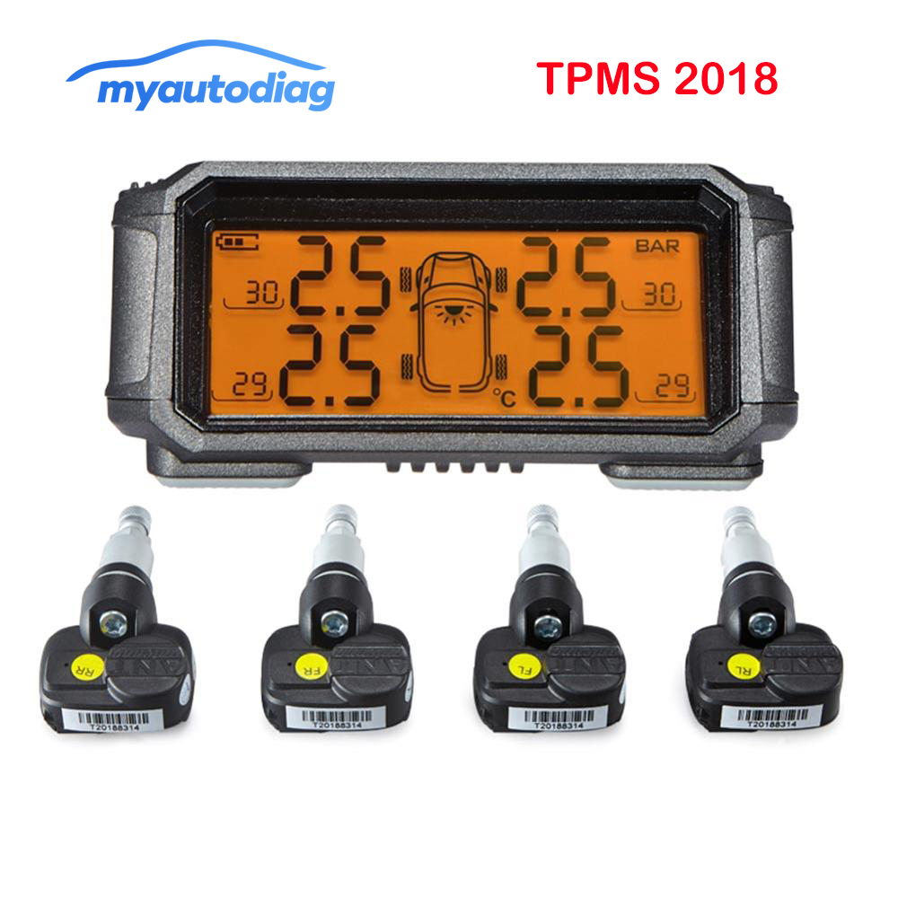 Solar Power USB TPMS Car Tire Pressure Monitoring System LCD Display 4 External Sensors for VW Toyota SUV Temperature Warning(China)