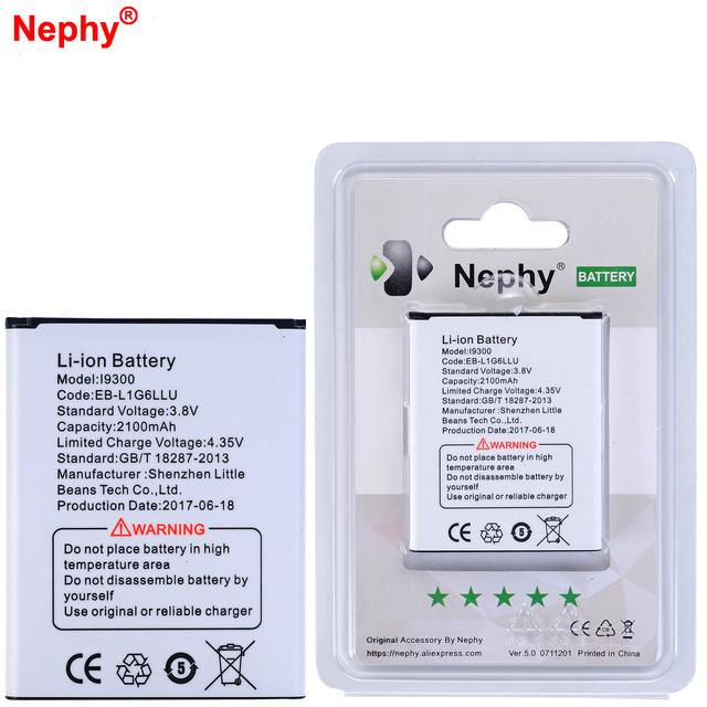 2017 Nephy Original Battery 2100mAh For Samsung Galaxy S3 i9300 i535 i747 i879 i9305 i9308 L710 M440S T999 i9082 i9082i In Stock