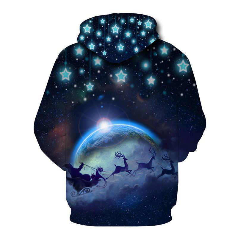 Космическая галактика толстовки для мужчин и женщин толстовки 2018 3D Рождество Санта Клаус Олень печати пуловер с капюшоном для мужчин хип хоп Повседневная Уличная одежда
