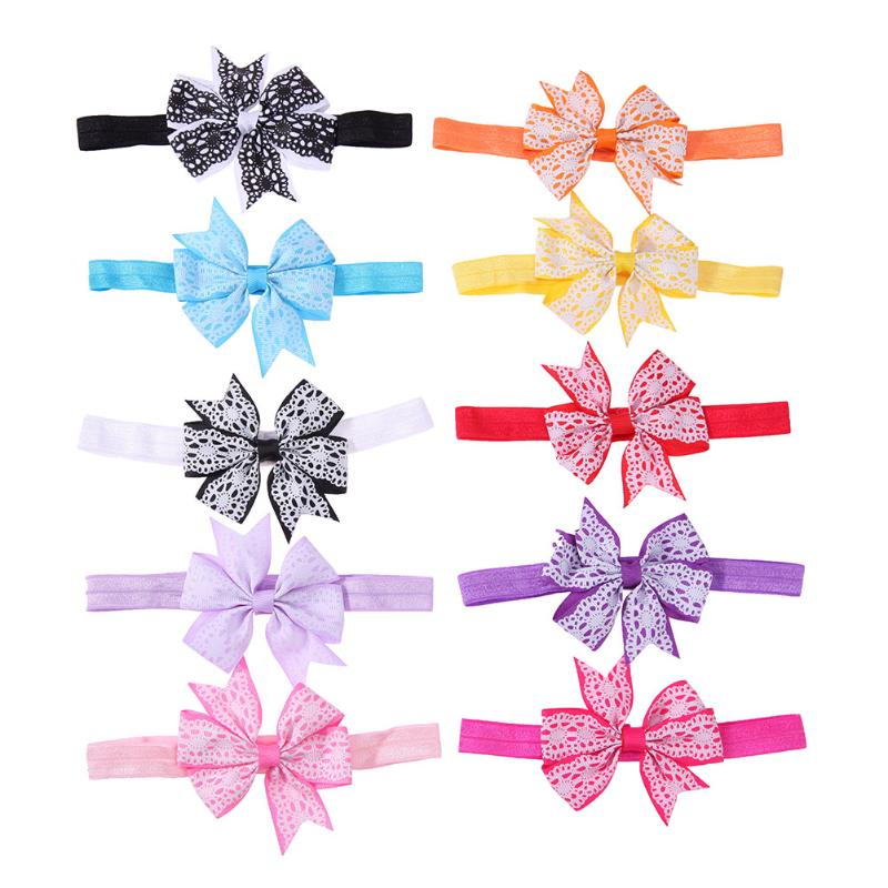 10pcs/lot Fashion Baby Kids Print 10 Color Bowknot Princess Hairband Headband Photo Props Girls Party Headdress Hair Accessories 1 set gift cute princess crown hairpin hairband girls kids hair head hoop clips bows accessories for children barrette headdress