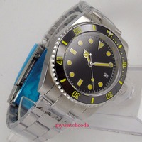 Reloj Automático de cristal de zafiro luminoso con esfera negra estéril parnis de 40mm para hombre