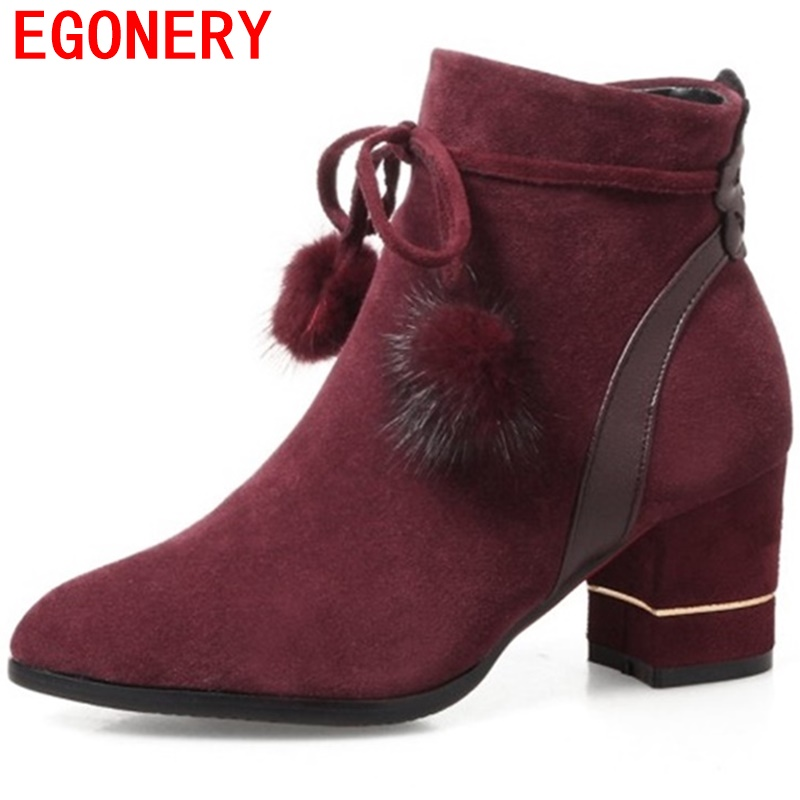 egonery ankle boots good quality cowsuede shoes woman cross tie decoration side zipper pointed toe booties high heels pumps lady egonery quality pointed toe ankle thick high heels womens boots spring autumn suede nubuck zipper ladies shoes plus size
