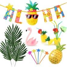 Hawaii fiesta Luau Flamingo decoración de piña Aloha Banner boda cumpleaños verano hawaiana Tropical decoración de la fiesta