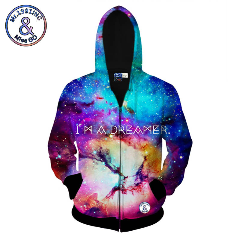 Mr.1991INC Spring Hooded Tops Mens Zipper Hooded Hoodie Colorful Starry Sky 3d Print Hooded Jacket New Style Hoodies