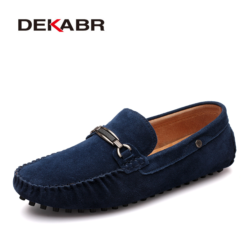 DEKABR Men Casual Suede Leather Loafers Solid Suede Leather Driving Moccasins Slip On Men Casual Shoes Men Lazy Shoes Size 38~44