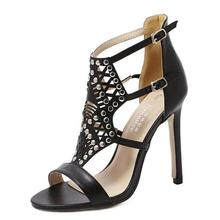 2016 Latest Sexy Women Pumps Open-Toed Cutouts Stiletto Rivet Buckle Party Banquet High Heels Sandals Shoes Woman Free Shipping