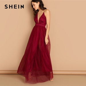 Image 2 - SHEIN Burgundy Plunging Neck Crisscross Back Cami Dress Maxi Plain Sexy Night Out Dress Autumn Modern Lady Women Party Dresses