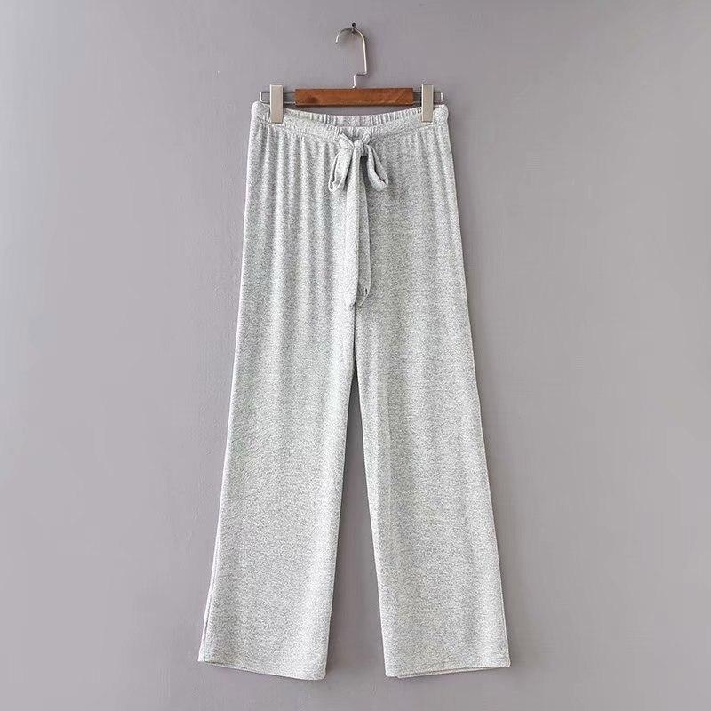 Femelle Vêtements shirt Costumes Pantalon Tricoter Cordon Et Automne Sweat Occasionnel Solide À 2018 Light Capuche Femmes Ensemble De Arrivée Gray Nouvelle q6Xx8UFw7T
