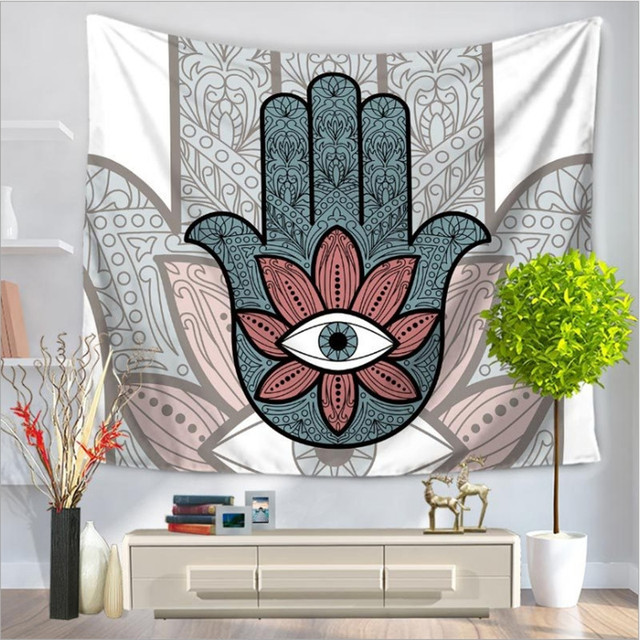 Home decor wall hanging abstract palms tapestry colorful fabric throw door curtain bedspread home decoration accessories