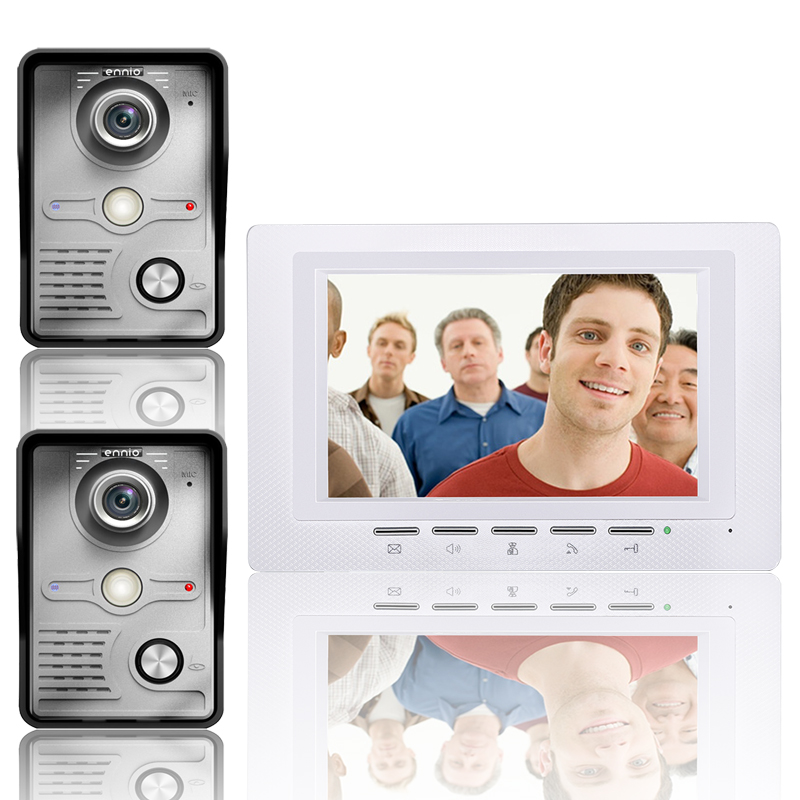 7 Inch Video Door Phone Doorbell Intercom Kit 2 -camera 1-monitor Night Vision