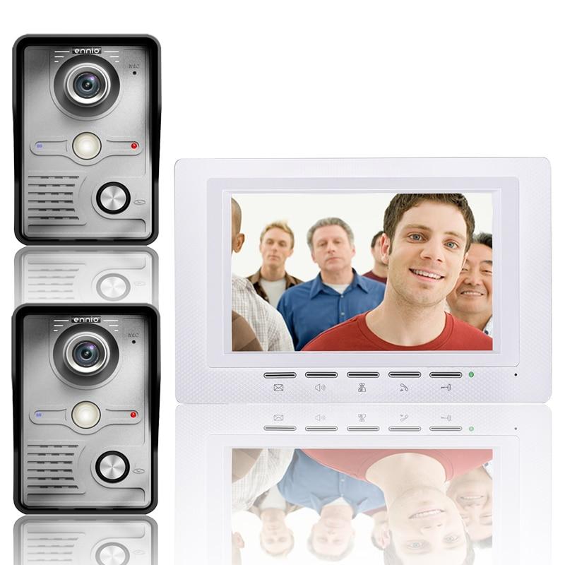 7 Inch Video Door Phone Doorbell Intercom Kit 2  camera 1 monitor Night Vision-in Video Intercom from Security & Protection