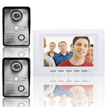 Kit de intercomunicador con 2 cámaras y 1 monitor de visión nocturna, videoportero, 7 pulgadas