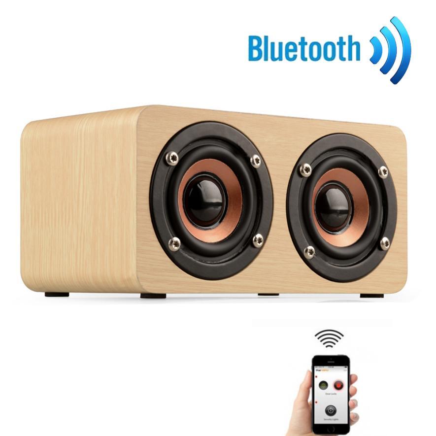 Wooden Portable Bluetooth Speaker Wireless Retro Bluetooth Speaker 3D Dual Loudspeaker Surround Mini USB Charging#S