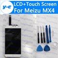 Para meizu mx4 lcd display + pantalla táctil 100% nuevo panel de cristal del digitizador para mx4 1920*1152 5.36 ''phone-¡ envío gratis