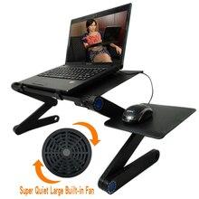 Портативный складной регулируемый стол для ноутбука, компьютера, ноутбука, подставка, стол, диван, кровать, лоток, встроенный вентилятор охлаждения с ковриком для мыши