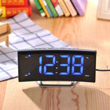 Modern Desktop Digital LED Radio Alarm Clock Bedside Function with Backlight Charging Table Clock Display Snooze