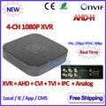 4 Canales DVR 1080 P Híbrido AHDVR 4ch para AHD-H-M 960 H D1 cámara Red mini NVR ONVIF del IP del P2P H.264 Cámara de 2MP IP
