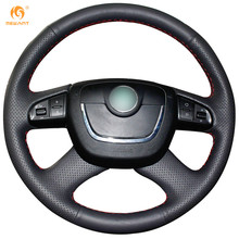 MEWANT Black Genuine Leather Car Steering Wheel Cover for Skoda Octavia Octavia a5 a 5 Superb 2012 2013