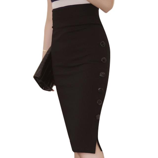 2016 Mujeres Midi Falda de la cintura Delgada DEL OL de La Falda Más El Tamaño 5XL oficina Abierta Sexy Hendidura Botones Delgado Lápiz Falda Elegante de Las Señoras Faldas