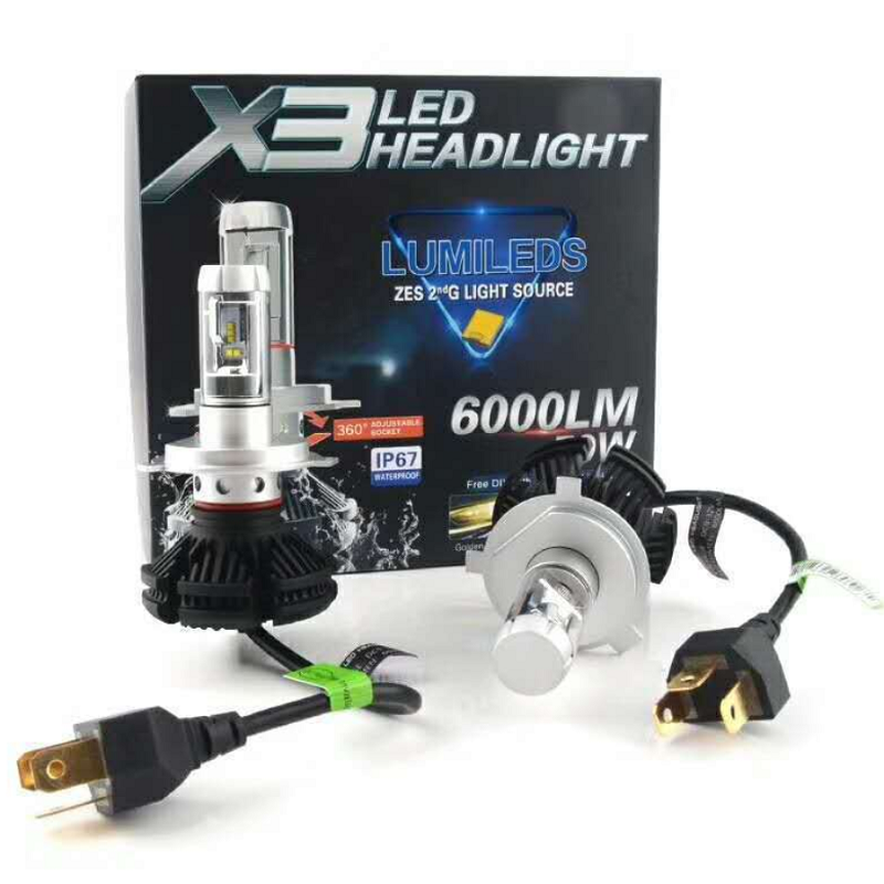 YY X3 led headlight Bulbs 50W 6000LM H4 H7 LED Car Headlamp 3000K/6500K/8000K ZES Chip H1 H3 H11 9005 HB3 9006 HB4 fog Lamp Auto