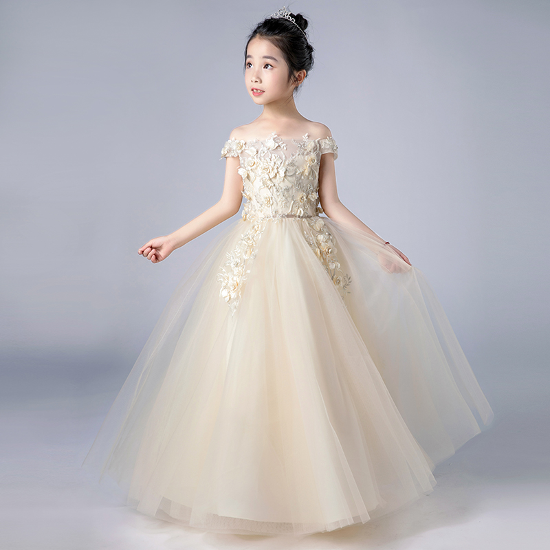 96 Fun Facts About Your Favorite Bridal Designers: 2018 Summer New Luxury Children Girls Champagne Color