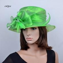 Новинка,, Элегантные зеленые шляпы из органзы, церковная шляпа Kentuck derby, Свадебная женская шляпа