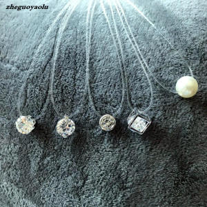 ZHEGUOYAOLU Square Crystal Zircon Invisible Necklace Women