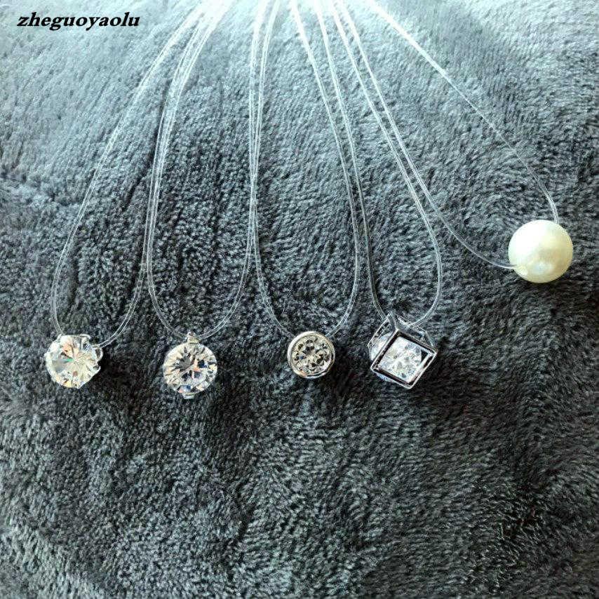 Nova personalidade moda praça imitação pérola zircão de cristal colar de zircão invisível transparente linha de pesca colar feminino
