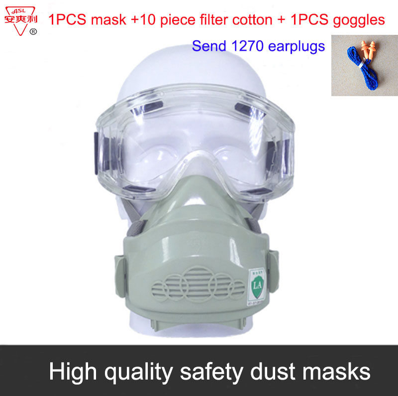 ASL Silica gel dust mask 1PCS mask + 1PCS goggles industrial safety safety masks Anti-dust Anti-odor Can be cleaned dust mask high quality dustproof gas masks blue silica gel protective mask dust pesticides industrial safety safety masks