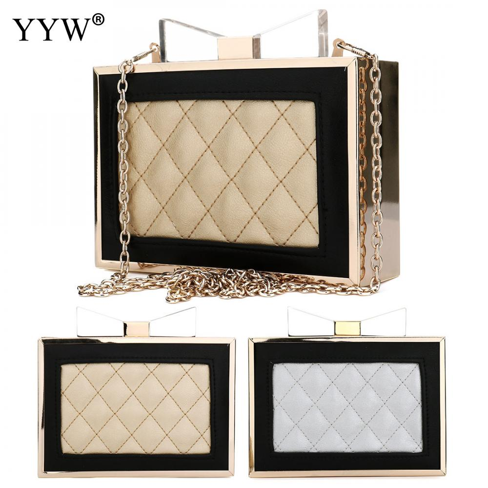 Brand Luxury Women's Plaid PU Leather Handbags Evening Party Bag for Women Clutch Bags with Zinc Alloy Famous Crossbody Bag