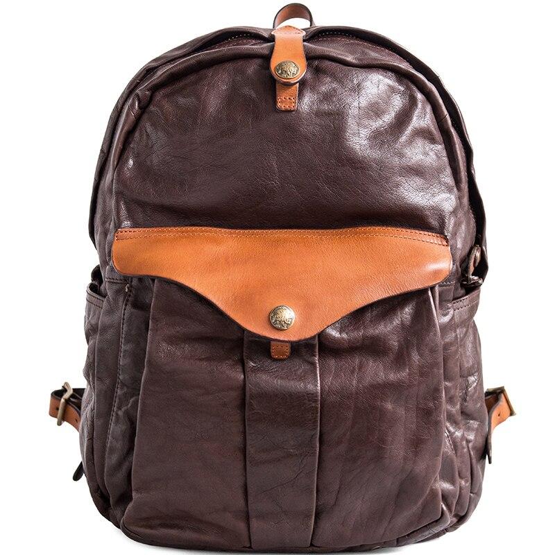 AETOO vintage hohe qualität ringkastration top leder rindsleder mode färbung schulter tasche echt rucksack-in Rucksäcke aus Gepäck & Taschen bei  Gruppe 2