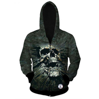 Manvelous Gothic Hoodies Male Spring Long Sleeve 3D Digital Print Ink Green Skull Head Thread Halloween
